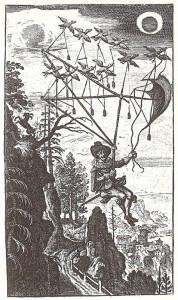 Naslovnica nemške izdaje Godwinovega Man on the Moone, 1659. vir:  wikipedia.org .