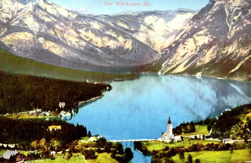 Bohinjsko jezero, razglednica, poslana 1912