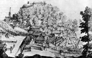 Najstarejša veduta Ljubljane, iz leta 1639. Označeno: 1 - Stolnica, 2 - Grad, 3 - Kapucinski samostan, 4 - Križanke.