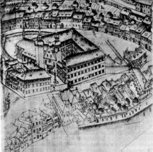 Staro mestno jedro okoli današnjega Levstikovega trga s cerkvijo sv. Jakoba in jezuitskim samostanom, druga polovica 17. stoletja.