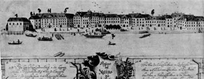 Breg konec 18. stoletja. 1 - Gostilna Zlata Ladja, 2 - sv. Lavrencij, 3 - Bistrski dvorec, 4 - hiša baronov Erbergov, 5 - hiša Žige Zoisa, 6 - carinarna, 7 - pristanišče.