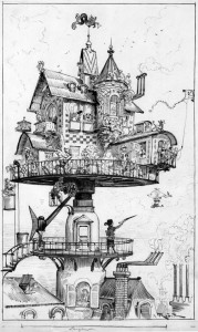"""""""Maison tournante aérienne"""". Risba francoskega ZF pisatelja Alberta Robide za njegovo delo 20. stoletje (1883) Vir: wikipedia.org"""