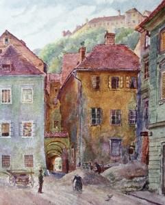 Ribji trg, razglednica, okoli 1900.
