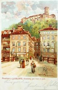Pogled na današnji Čevljarski most s Trančo, kjer je še do poznega 18. stoletja, ko je stokanje vendarle postalo preveč moteče, stala mesta ječa ali kar kaznilnica; razglednica, okoli 1900.
