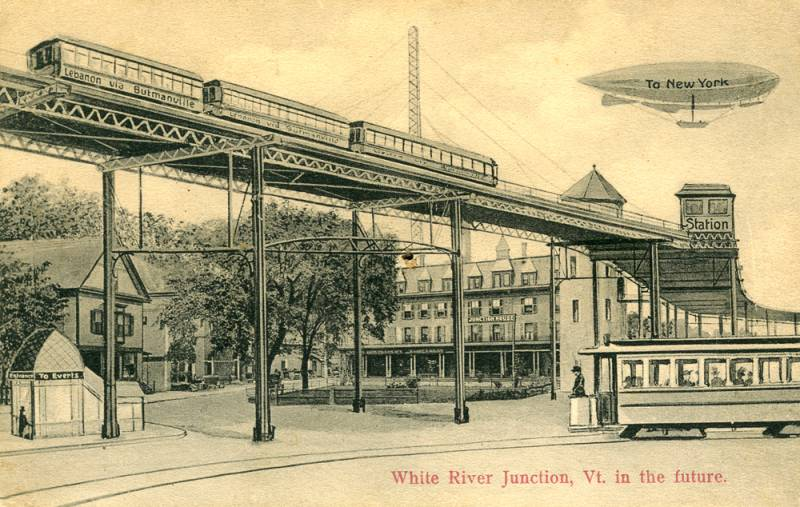 White River Junction, Vermont in the Future, 1911. Razglednica. Vir: wikipedia.org.