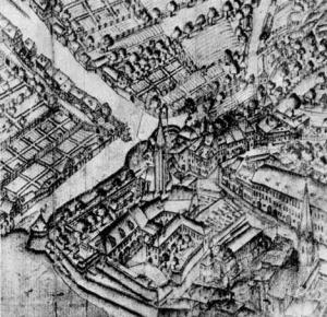 Vodnikov trg in frančiškanski samostan na grafiki iz druge polovice 17. stoletja, na kateri vidimo tudi mestno obzidje, ki je tu potekalo ob Ljubljanici.