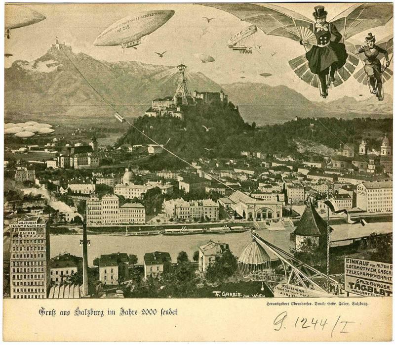 Fritz Gareis jr.: Salzburg v letu 2000 (1900), litografija. Vir: wikipedia.org.