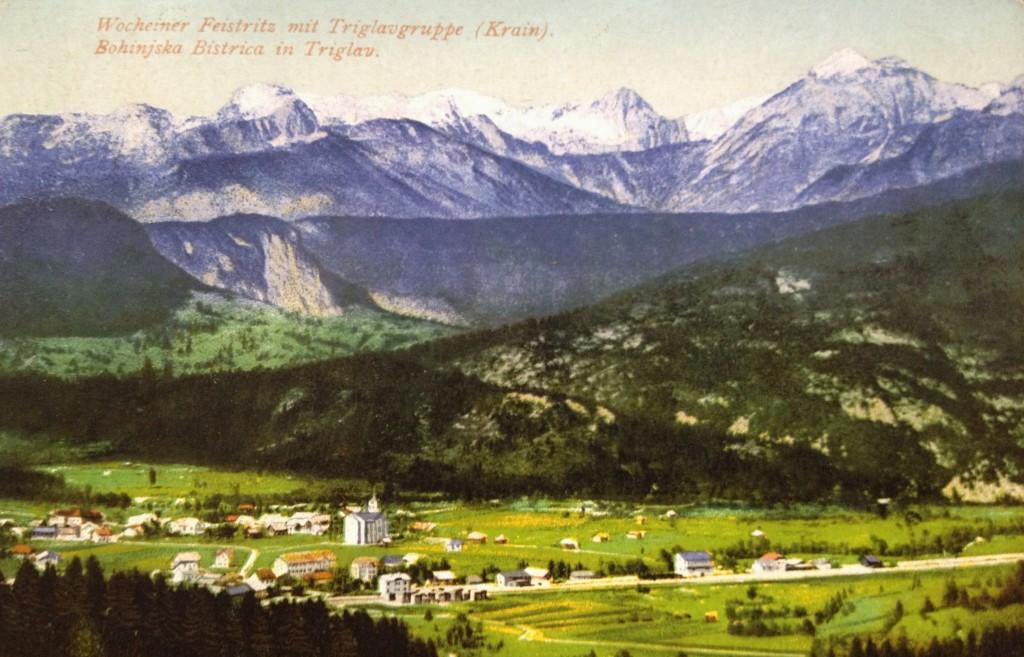 Bohinjska Bistrica in Triglav, razglednica, poslana 1905