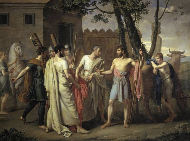 Cincinnatus opusti delo na polju za mesto rimskega diktatorja. Juan Antonio Ribera, c. 1806.