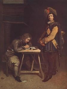 Častnik piše pismo (avtor: Gerard ter Borch via Wikimedia)