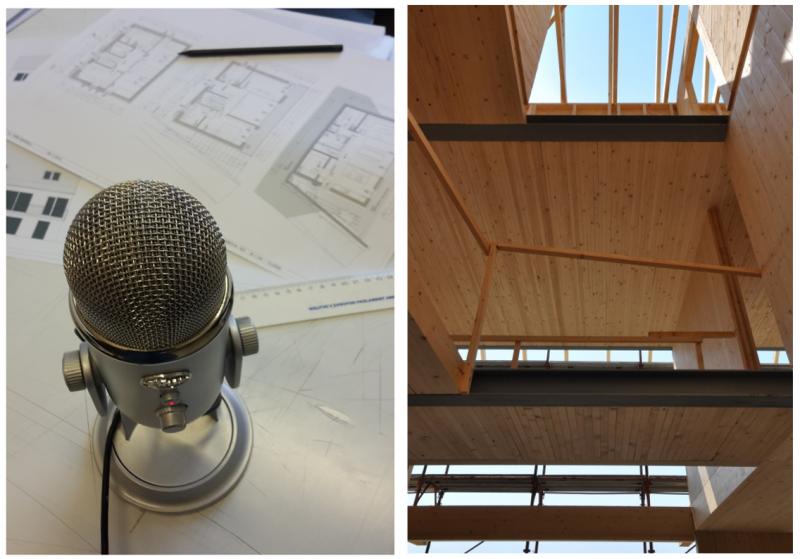 Pasivna hiša v treh korakih: načrt, intervju za MetaPHoDcast in uživanje v leseni notranjosti. (foto: levo - Ana Slavec, desno - Jernej Markelj)