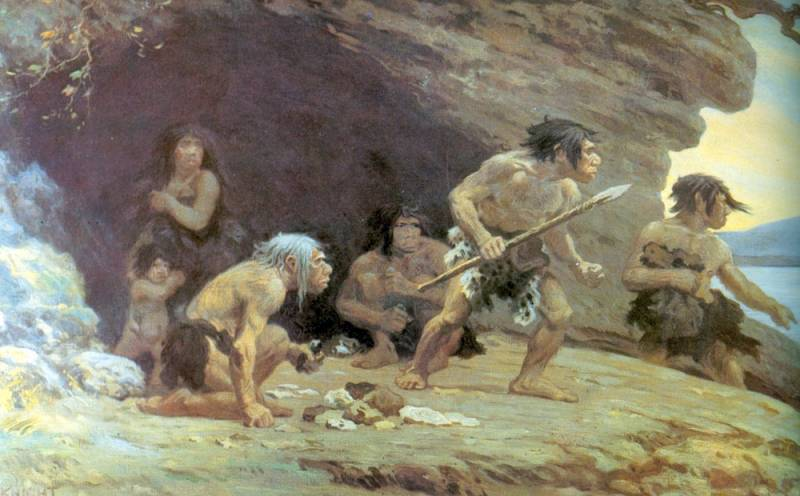 """Le Moustier Neanderthals"" , Charles R. Knight, 1920 (vir: Wikipedia)"