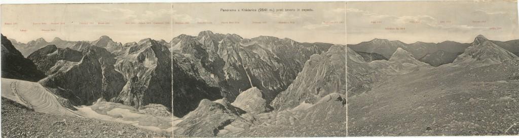 Panorama s Kredarice proti severu in zahodu, izdalo SPD, Ljubljana, leta 1912