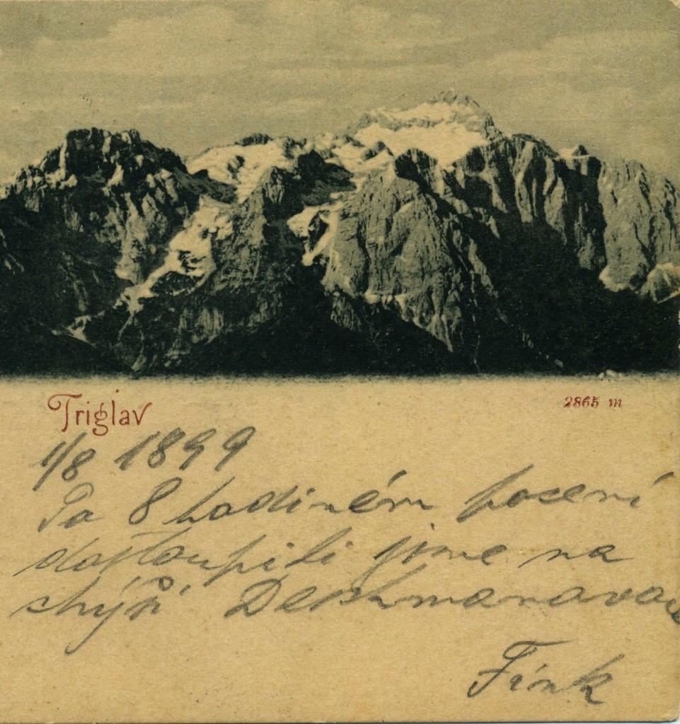 Pogled na Triglav, razglednica, poslana leta 1899