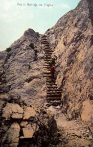 Pot iz Bohinja na Triglav, razglednica, poslana 1908