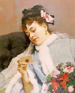 Ljubezensko pismo (umetnik: Raimundo de Madrazo y Garreta (1841-1920) via  Rlbberlin in Wikimedia)