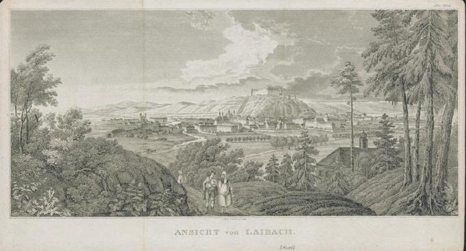 Pogled na Ljubljano (avtor: Jakob Hyrtl. 1836, vir: www.dlib.si)