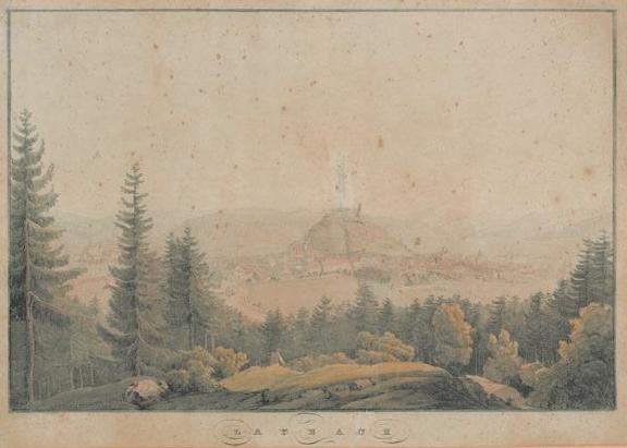 Pogled na Ljubljano s severa (avtor: Johann Fischbach. 1850/1859, vir: www.dlib.si)