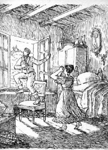 """Risba iz Cerarjevega Dimeža, ki prikazuje, kako odhaja skozi okno sobe Roze Kovačeve, ki ga je """"ljubila z vsem žarom prve ljubezni""""."""