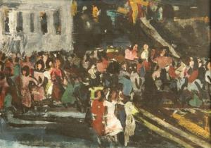 Zadnja predstava. Avtorica: Mira Pregelj. Čas nastanka: 1956 (via http://museums.si/)