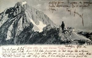 Triglav iz Malega Triglava, razglednica, poslana leta 1902