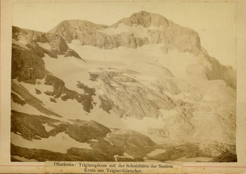 Triglav s Triglavskim ledenikom, fotograf Benedikt Lergetporer, ok. Leta 1887 - 1889