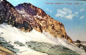 Triglavski ledenik in Triglav, razglednica, poslana 1905