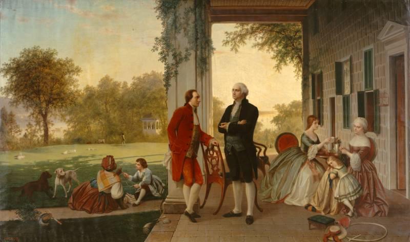 Prvi ameriški predsednik Washington in francoski aristokrat Lafayette na posestvu Mount Vernon, 1784. Rossiter in Mignot, 1859 (via Wikimedia).