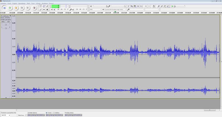 Urejanje zvočnega posnetka v programu Audacity.