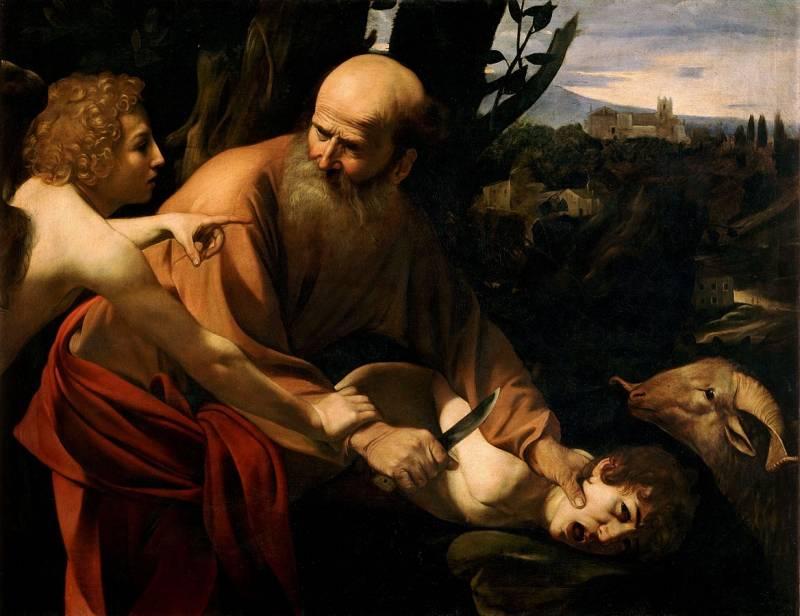 Žrtvovanje Izaka (avtor slike: Caravaggio)