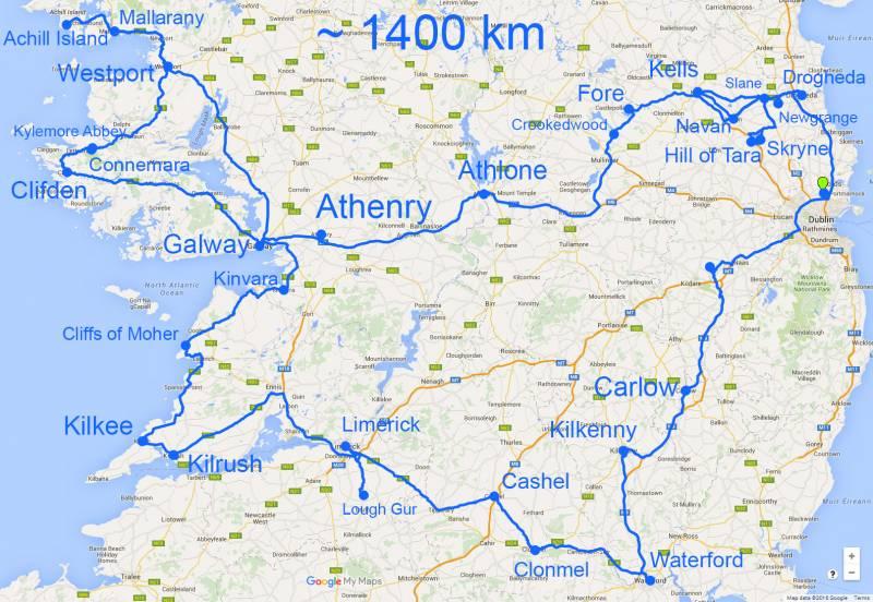 mapa s km in večjimi mesti