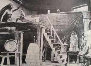 Atelje kiparja Ivana Zajca na Dunaju v času, ko je ustvarjal Prešernov spomenik (vir: knjiga S tramovi podprto mesto, Janez Kajzer)