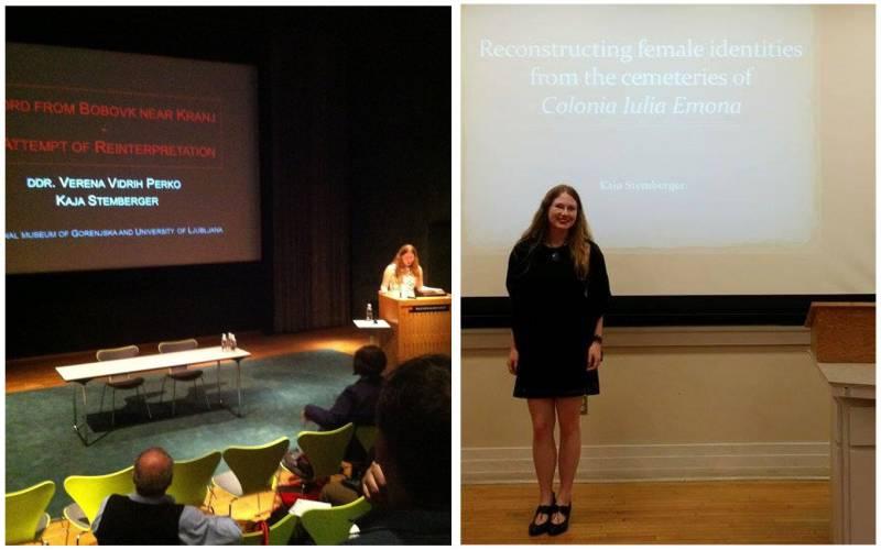 """Levo: """"Moj prvi prispevek na konferenci (ROMEC 2013, Köbenhavn)."""" Desno: """"Predavanje na University of North Carolina (poletje 2015)."""" (Foto: osebni arhiv KS)"""