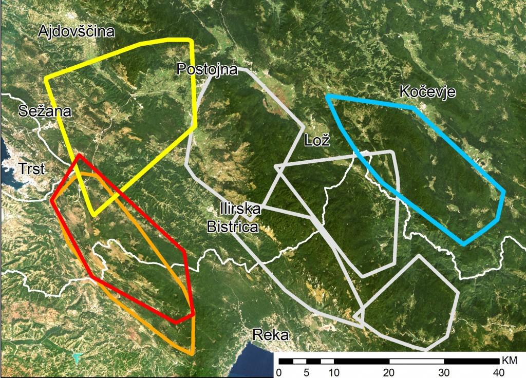 karto teritorijev tropov volkov, ki smo jih spremljali s pomočjo telemetrije